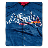 Atlanta Braves MLB Royal Plush Raschel Blanket (Jersey Series) (50in x 60in)