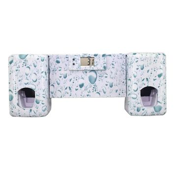Bathroom accessories Automatic Toothpaste Dispenser +Toothbrush Holder Set Wall Mount Rack Bath Oral-Water drops pattern
