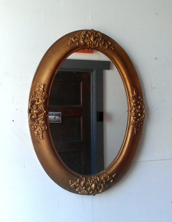 Gold oval mirror in antique wood frame 24 from secret window for Gold window mirror