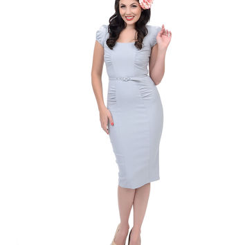 Stop Staring! 1940s Style Grey Fitted January Wiggle Dress