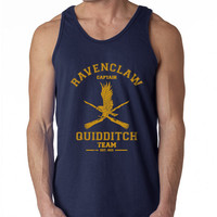 CAPTAIN Ravenclaw Quidditch Team Harry Potter Men Tank top Color Navy