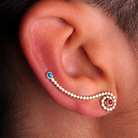 EAR / CUFF / Wrap / ear climber /Sterling Silver / genuine turquoise and Salmon coral - one only