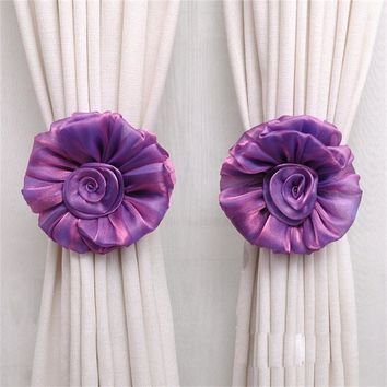 1Pair Rose Flower Window Curtain Tieback Buckle Clamp Hook Fastener quality first