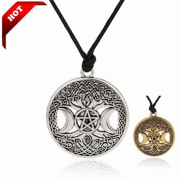 Pentagram Pentacle Star Moon Wicca Pendant Moon Necklaces