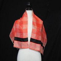 Vintage Echo Silk Scarf Red and White Polka Dots with Black