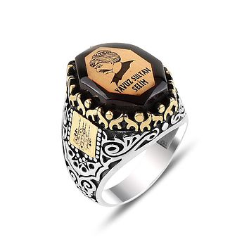 Mens amber gemstone angular ring 925 sterling silver with ottoman sultan