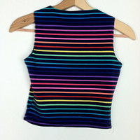 90's Rainbow Cropped Midriff Shirt Top