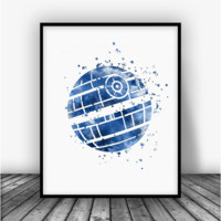 Star Wars Death Star Blue Art Print Poster