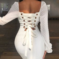 Sexy White Bodycon Dress Women Backless Dot Bandage Dress Elegant Evening Party Midi Lace Dresses Ladies