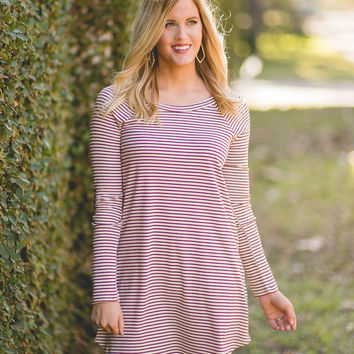 Nothing But Time Raglan Dress - Burgundy Stripe