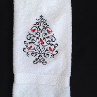 Wrought Iron Cardinal Christmas Tree Embroidered on a thick bathroom towel