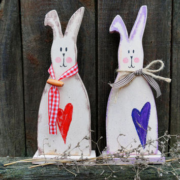 Wooden bunny country spring home decor primitive wood standing Easter decor gift holiday