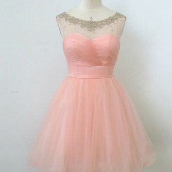 Pretty Ball Gown Round Neckline Mini Homecoming Dress, prom dress, short homecoming prom dress, formal dress