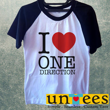 I Love One Direction Short Raglan Sleeves T-shirt