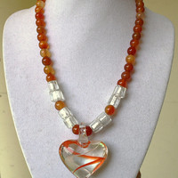 Carnelian and glass beads necklace with glass heart. Heart necklace