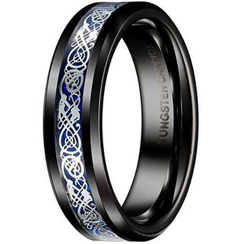 6mm Tungsten Carbide Wedding Band Black Blue Silver Celtic Dragon Inlay Polished Ring