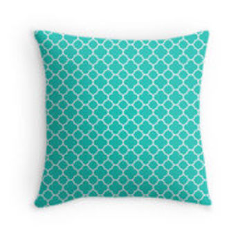 Turquoise and White Quatrefoil Pattern by TigerLynx
