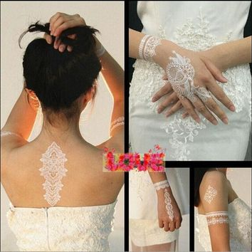 DCCKIX3 Wedding Accessory Women/Lady 1 Sheet Random Style Bride White Henna Ink Lace Temporary Flash Tattoo Inspired Stickers