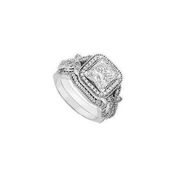 14K White Gold Princess Cut Diamond Engagement Ring with Wedding Band Sets 0.80 CT TDW