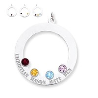 Personalized Crystal Birthstone Engraved Mother's Family Pendant