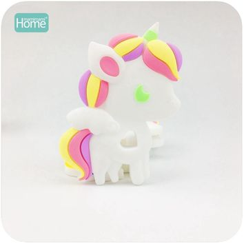 MamimamiHome Baby Toys Cute Silicone Unicorn 2pc Lovely Diy Nursing Teething Necklace Accessories Food Grade Teether Toys