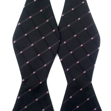 Trendy Black with Pink and White Checks - Self-Tied Bow Tie