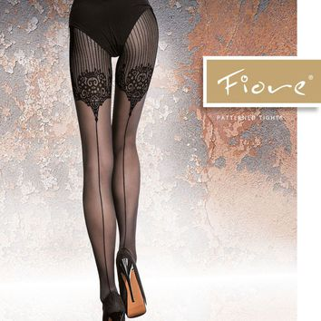 Fiore Jolena Ornamental Seamed Tights | The Tight Spot