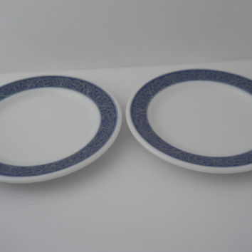 Pyrex Tableware Sapphire Restaurant Ware Plate Pair Rare Estate