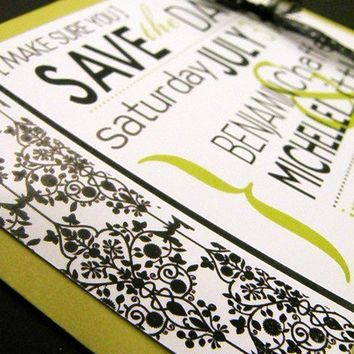 Save the DateLime and Black Flat Note CardsSet of 20 by littletoad