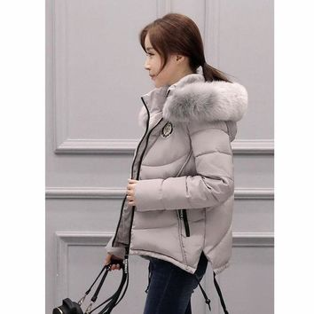 2016 Winter New Korean Version Large Size Hair Collar Hooded Down Jacket Women Coat Thickening Slim  Outwear Thin Cotton Women J