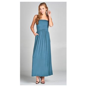 Adorable Strapless Buttery Soft Teal Maxi Dress