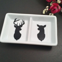 Buck & Doe Mini Double Ring dish, engagement gift, wedding gift, jewelry dish, Trinket dish, anniversary gifts, couples gifts, ring holders