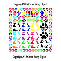 Dog clipart,  Dog Clip Art, Dog paw clip art, Cutter ready import ready .JPG & .PNG files 300dpi Large size