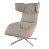 Draven Fabric Swivel Chair Silver Base, Argos/Pink