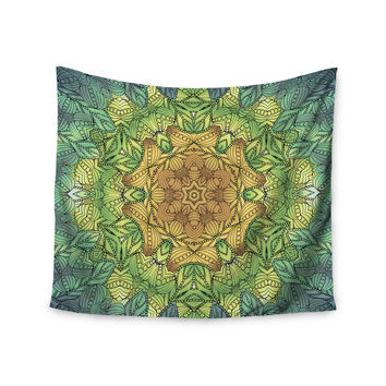 "Art Love Passion ""Celtic Golden Flower"" Green Yellow Wall Tapestry"