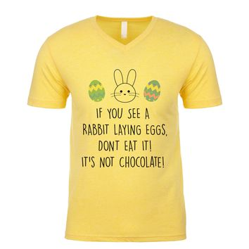 If You See A Rabbit Laying Eggs, Don't Eat It! It's Not Chocolate! Men's V Neck