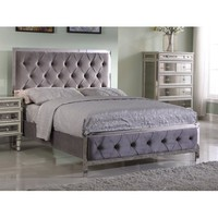 Best Master Furniture Tracy Grey Tufted Velvet Fabric with Chrome, E. King Bed - Walmart.com