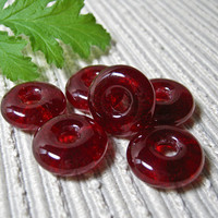 Handmade ROUND Cast Glass Beads / Set of 6 /  Cherry Red / Cranberry Red For Your Handcrafted Jewelry Designs or Crafts