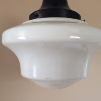 Antique Hanging Church Industrial School House Pendant Light 1930s Milk Glass Original