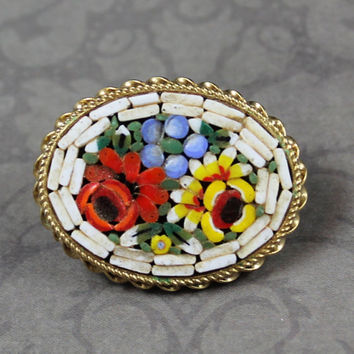 Vintage Italian Micro Mosaic White, Red, Yellow, Blue and Green Floral Gold Oval Brooch