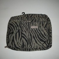 Baggallini Wallet Zebra Animal Print Black Olive Green Large Cross Body Bag