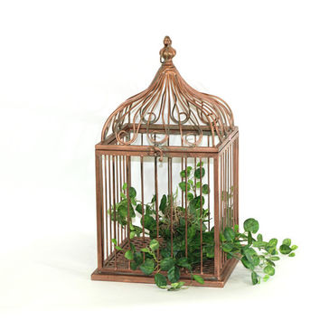 Large Metal Birdcage with Copper Finish & Hang Loop | Pointed Top Garden Cage Centerpiece | Cage for Plant or Arrangement | Decorative Cage
