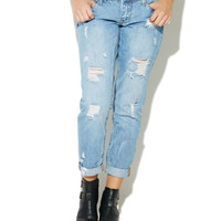 Destroyed Roll Cuff Boyfriend Jean | Wet Seal