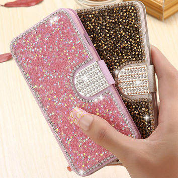 Silk Rhinestone Leather Case Diamond Flip Phone Cover Bling Crystal Stand coque Capa Fundas for Samsung Galaxy S4 S5 S6 S7 Edge