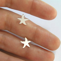 Silver Starfish Earrings - Silver Studs - Star Earrings - Hand Cut