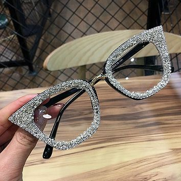 2019 Vintage cat eye Glasses frame retro Female Brand Designer gafas De Sol silver gold  Plain eye Glasses Gafas eyeglasses