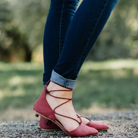 Rose Suede Lace Up Flat
