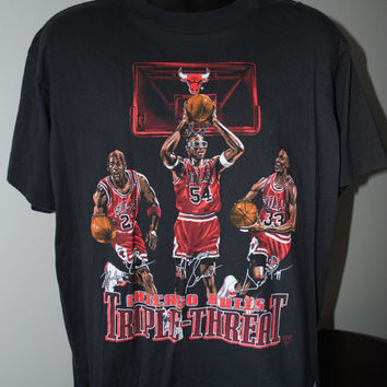 90's Michael Jordan, Scottie Pippen & Horace Grant Chicago Bulls Triple Threat T-Shirt by Nutmeg Mills - XL