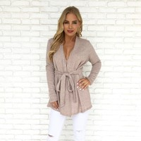 Feelin Knit Cardigan in Taupe