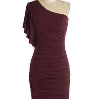 ModCloth Mid-length One Shoulder Bodycon Tasting Room Dress in Wine